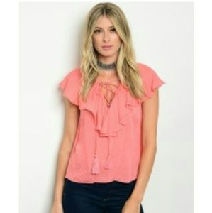 Coral sleeveless ruffle boho top lace up front top